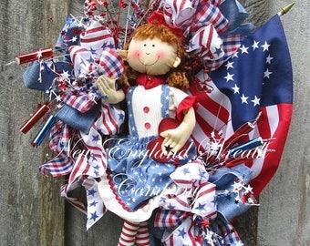 ON SALE Patriotic Wreath, Flag Wreath, Betsy Ross Flag, 4th of July Wreath, Whimsical Patriotic Wreath, Americana Wreath, Patriotic Doll Wre