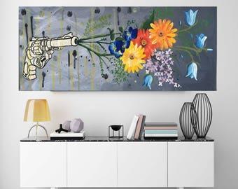 Gun Pop Art Flowers Blooms Peace Modern Art Original Acrylic Painting Abstract Wall Art minimalist painting canvas art artwork wall art
