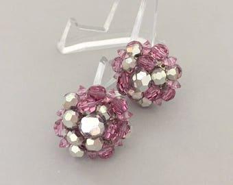 Summer Jewelry Earrings Gift for Mom - Vendome Pink Crystal Earrings - Crystal Clip on Earrings - Anniversary Gift for Wife  Summer Earrings