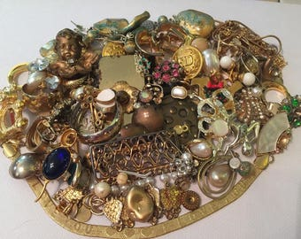Vintage Gold Rhinestone Costume Jewelry Lot/ Junk Jewelry/ Great for Altered art, Destash Art, Re-Purposed Jewelry Art/ 63 Pieces