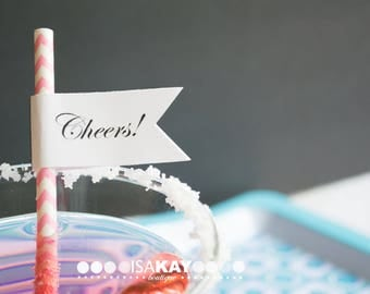 108 personalized custom flags for straws - stripe straws custom pendant flags - 9 pages printed - bridal shower wedding birthday baby shower