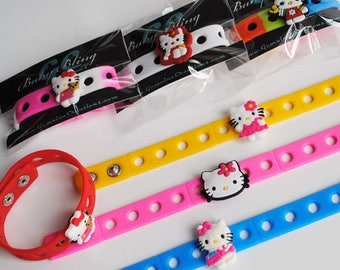 12 Hello Kitty Themed Bracelet Birthday Party Favors - Adjustable Silicone bracelets with Charms