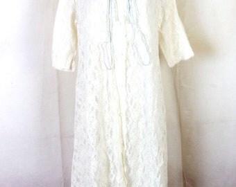 vtg 50s 60s Gossard Artemis nylon Lace Peignoir Nightgown 1/2 sleeve S