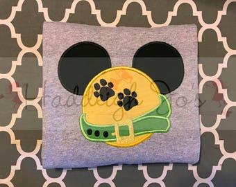 Pluto mouse head personalized appliqueChildrens Kids Infant Toddler shirt