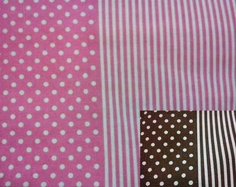 Ivory dot and stripe, 1/2 yard, pure cotton fabric