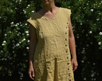 Yellow Linen Summer Dress Vintage 80's oversized dress