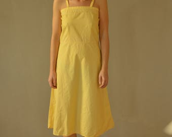 Yellow Summer Mid Dress Vintage 70's strappy summer dress S/M