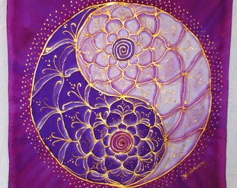 lotus Yin Yang mandala, purple silk wall hanging, mandala art, yoga art, reiki art, spiritual gift, purple mandala, spiritual, metaphysical,
