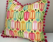 Popsicle pom pom pillow cover, 16x16, summer decor, pink, bright pillow cover
