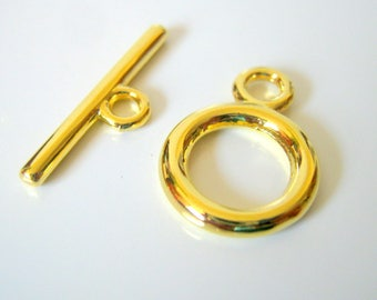 6  Gold Plated Smooth Toggle Sets, Jewelry Making Supplies, Toggle Sets  (1083)