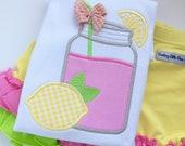 Pink Lemonade shirt, tank or bodysuit for girls -- sweet mason jar lemonade design in pink, yellow and lime