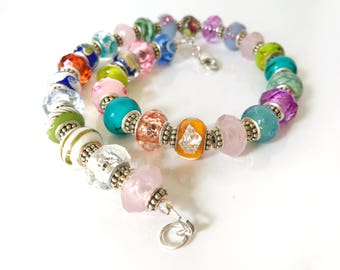 Colorful Glass Lampwork Beaded Necklace Spring Beauty