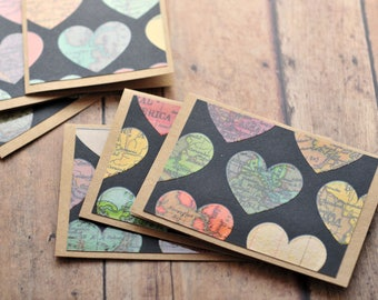 Map Heart Mini Cards // Set of 6 // Blank Cards // Gift Card Envelopes // Love Notes // Enclosure Cards // Map Note Cards