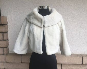 40s Winter White Faux Fur Cropped Jacket Vintage Wedding Jacket M-L