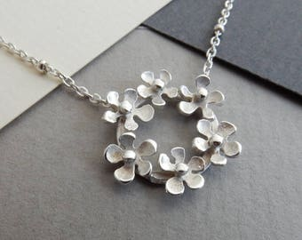 Bouquet Flower Silver Necklace