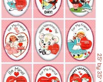 Digital Clipart, instant download, Valentines cards for kids, girls, kittens, rabbits, bears--Digital Collage Sheet (8.5 by 11 inches) 4116