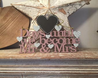 Wedding Countdown Sign, hanger - various colours available