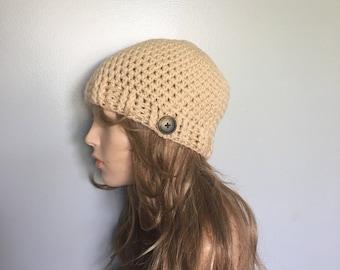 SALE Crochet Beanie hat - CREAM