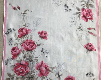 Vintage Colette Floral Hanky with Pink Roses 1588