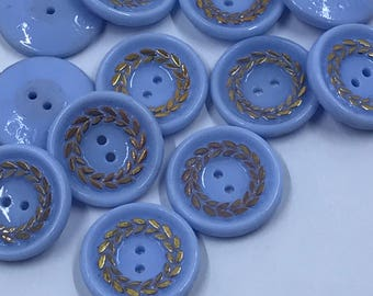 Vintage European Blue Glass Buttons with Gold - Set of 12
