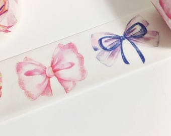 Gorgeous Watercolor Purple Blue Pink Orange Yellow Bows Fabric Bows Painted Bows Washi Tape 11 yards 10 meters 25mm