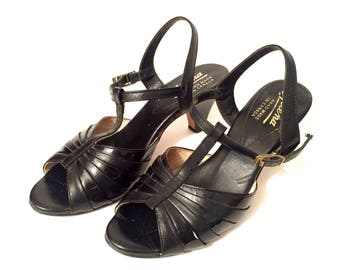 Vintage 1950's Black Peep Toe Heels / Size 6.5 / Mary Jane T-Strap Dancing Shoes