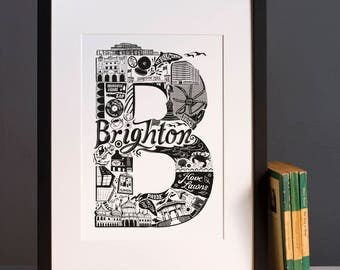 Best of Brighton print  - Graduation gift - University town - Typographic art - Brighton poster - Brighton artwork