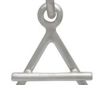 4 Elements Geometric Air Symbol Charm -15.5mm Sterling Silver