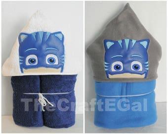 Towel OR Blanket - Blue Cat Bedtime Hero - Hooded Towel - Hooded Blanket - Drive-in - Bath Towel - Beach Towel
