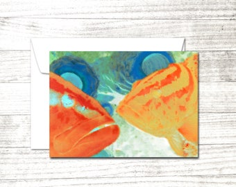 Groupers Note Card | Underwater art | Greeting Card | fish notecard | Blank Note Card | Blank Greeting Card | Card for scuba diver