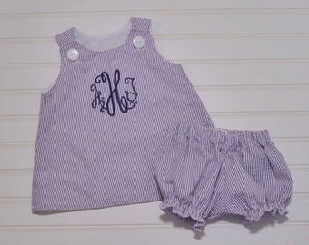 Baby Girl Seersucker Dress and Bloomers, Classic A-line Jumper, can be monogrammed with add on...3m,6m,9m,12m,18m,2t,3t