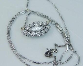 """ON SALE Vintage 14K White Gold 2.20cts Diamonds Necklace Choker 17.5"""" Long"""