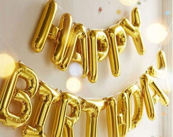 HAPPY BIRTHDAY balloon banner, gold, Happy Birthday banner, GOLD balloon, Happy Birthday balloon 1 Kit