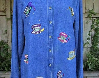 vintage 90s quacker factory denim shirt s/m embroidred teacups rhinestones inspirational joy faith hope love peace trust