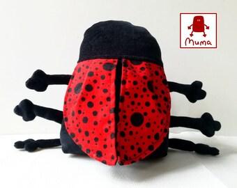 Muma Valentine Ladybug Plushie, Little Pocket Ladybird Stuffie Toy, Funny Insect Pocket Plush