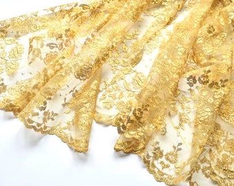 Gold Lace Fabric, Embroidered Gold Metalic Lace, Wedding Dress, Mantilla, Veils, Formal Wear