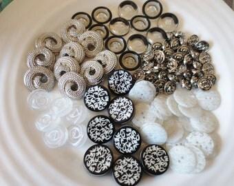 Buttons Assortment Black White Silver Retro 80s Mix 100 Pieces Six Designs Sets