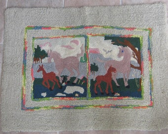 Antique Hooked Rug- Horses