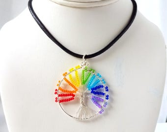 rainbow Tree of life pendant, beaded tree of life, chakra pendant, handmade jewelry pendant, beaded pendant, beaded jewelry, rainbow beads