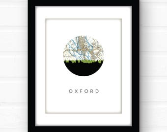 Oxford England map art | United Kingdom art print | Oxford art print | England wall art | city skyline wall art | city skyline map art