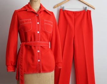 70s Two Piece Orange Pantsuit / 1970s Suit / Vintage Pant Suit / Leisure Suit for Women/ Groovy Suit/ Size S/M