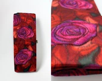 Vintage Floral Clutch/ Wedding Clutch Purse/ Evening bag / Pink Red Purse / Rose / Vintage bag / Tapestry