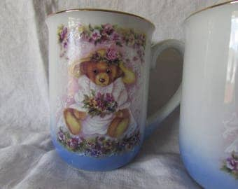 Vintage Teddy Bear Coffee Mugs - Otagiri Japan Coffee - Tea mugs - Designed by Kim Stenbo - Pansies and Teddy Bears - Otagiri Kim Stenbo