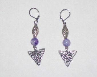 Purple Agate Celtic Knot work earrings