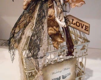 Wedding Wishes Birdcage Decorations Gold Centerpiece Box Shabby