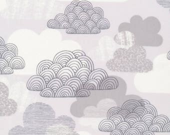 LAMINATED cotton fabric (similar to oilcloth) by the yard - Organic Matte - When skies are gray clouds - WIDE - great for tablecloths