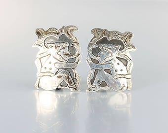 Guatemala Silver 900 Earrings, Folk art Man playing instrument, Screw back Earrings 1940s jewelry