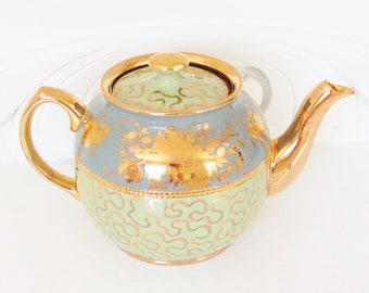 Fancy Sadler Blue Green Gilded Teapot full size 6 cup 1950s 1960s