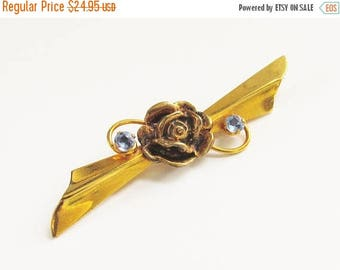 ON SALE Gold Filled Blue Rhinestone Rose Flower Brooch 1940s signed hallmarked