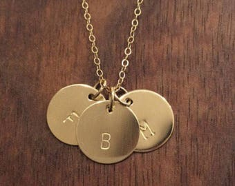 3 Initial Necklace, Three Disc Personalized Inital Necklace, Monogram Necklace, 3 Charm Necklace, Mothers Necklace, Personalized Jewelry